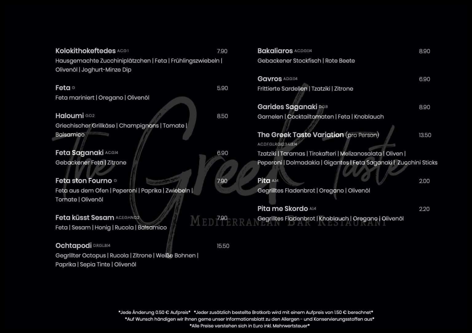 The Greek Taste Speisekarte 2