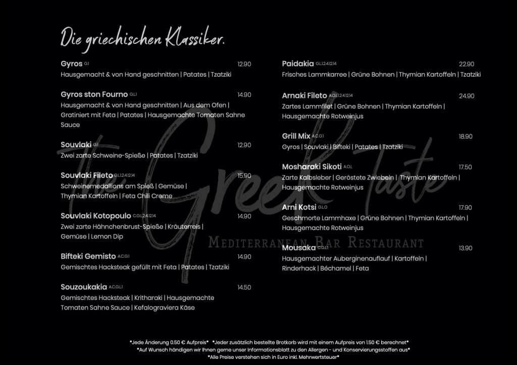 The Greek Taste Speisekarte 5
